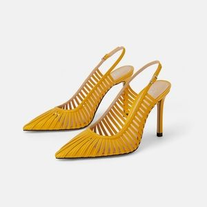 ZARA Yellow Slingback High Heels - NWT